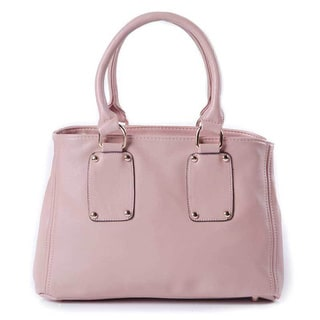 Pearlized Pink Leatherette Bowler Bag