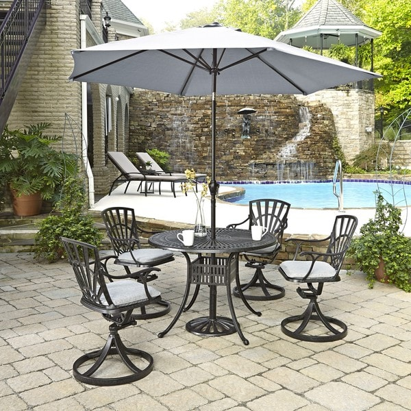 Largo 5-piece Dining Set with Umbrella and Cushions by Home Styles