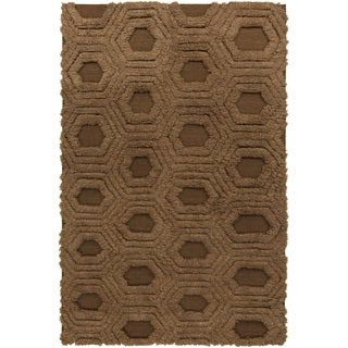 Hand-Woven Makenna Solid Pattern Wool Rug (5' x 8')