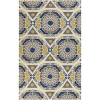 Hand-Knotted Catalina Medallion Pattern Wool Area Rug - 5' x 8'