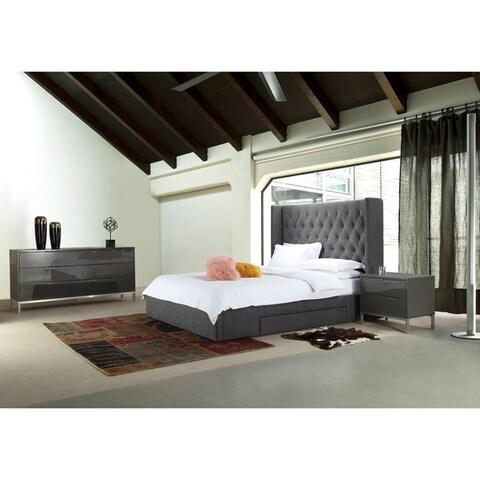 Aurelle Home Dark Grey Upholstered Stoarge Bed