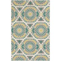 Hand-Knotted Catalina Medallion Pattern Wool Area Rug (8' x 11') - 8' x 11'