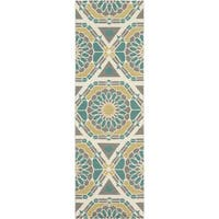 """Hand-Knotted Catalina Medallion Pattern Wool Area Rug - 2'6"""" x 8'"""