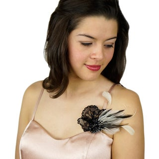 Feather Headband Embellishment with Hackle/ Stripped Coque