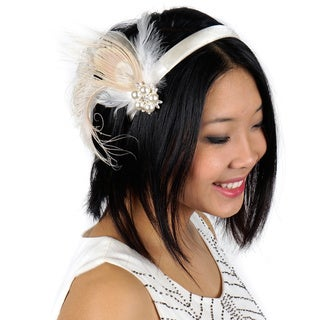 Peacock Feather Headband Embellishment with Schlappen