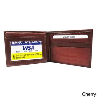 Men's Classic Bi-fold Genuine Leather Wallet (Option: Cherry)