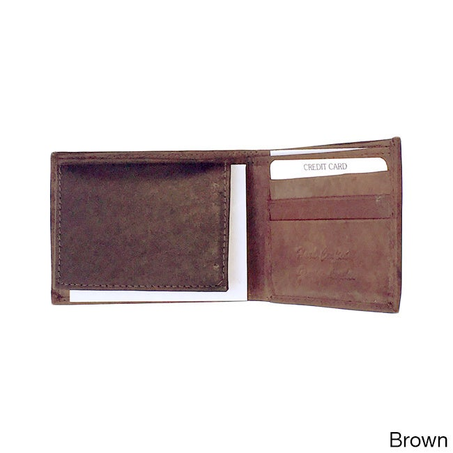 Men's Classic Bi-fold Genuine Leather Wallet (Brown), Size 4