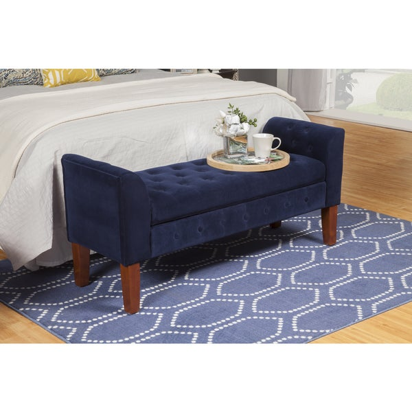 Palm Canyon Lagarto Navy Velvet Storage Bench/ Settee