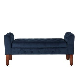 HomePop Navy Velvet Storage Bench/ Settee