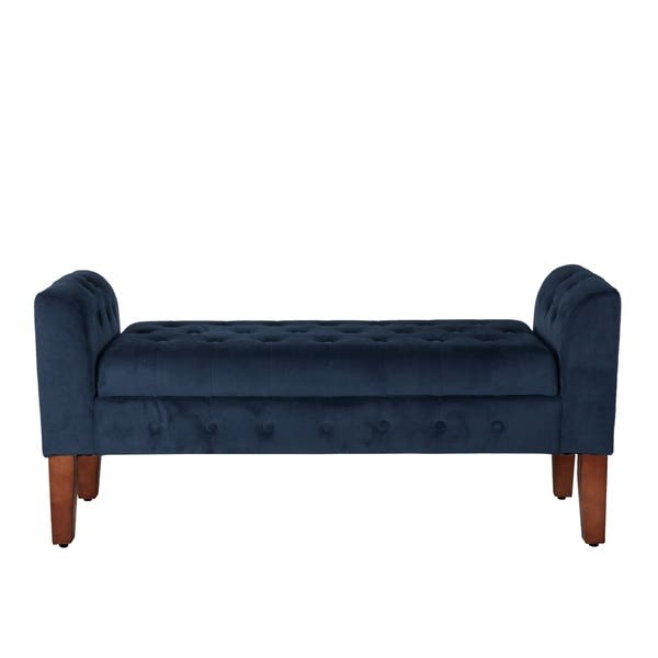 Marvelous Shop Copper Grove Malakoff Navy Velvet Storage Bench Settee Bralicious Painted Fabric Chair Ideas Braliciousco