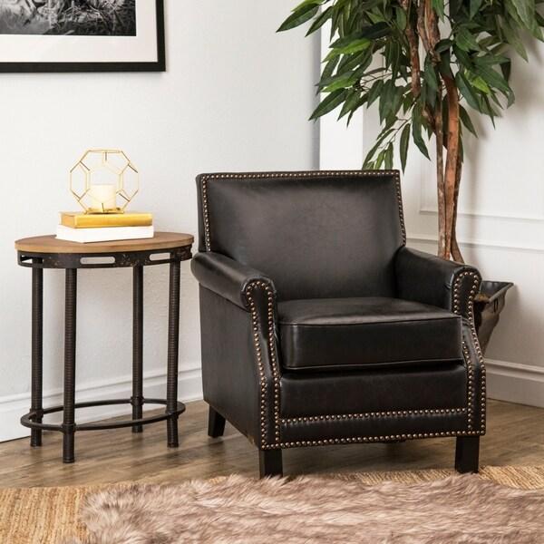 Abbyson Chloe Antique Black Leather Club Chair