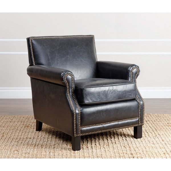 Abbyson Living Chloe Antique Black Leather Club Chair