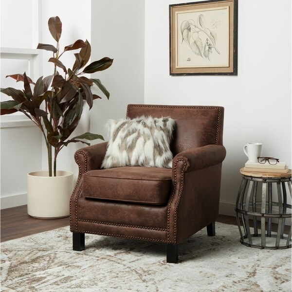 Incroyable Abbyson Chloe Antique Brown Fabric Club Chair