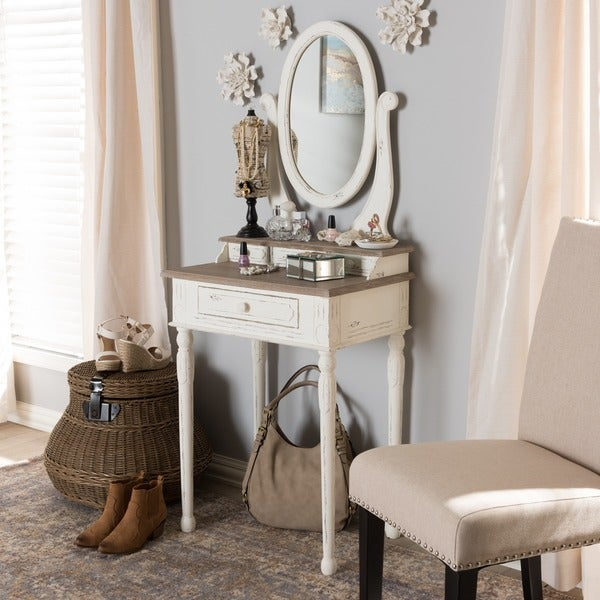 Copper Grove Hoxie Traditional French Accent Dressing Table with Mirror 14789456