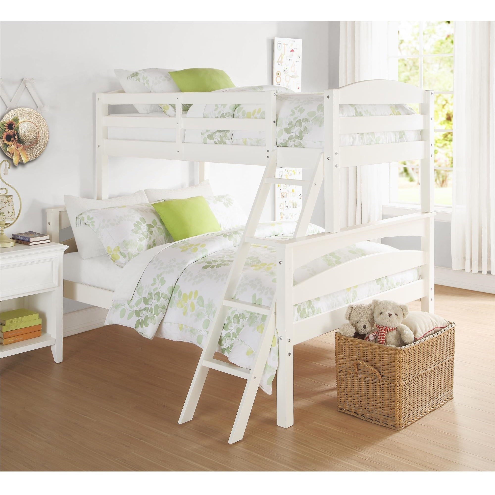 Dorel Living Brady Wood Twin-over-Full Bunk Bed (White - ...