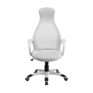 Offex High Back Executive White Mesh Chair With Leather Inset Seat