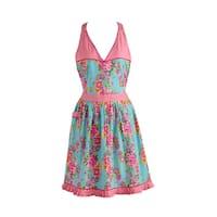 Design Imports Blue Floral/ Pink Polka Dot Vintage Apron