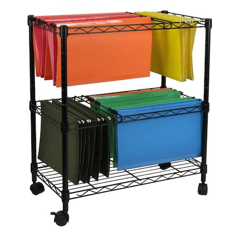 Oceanstar Portable Black 2-Tier Metal Rolling File Cart