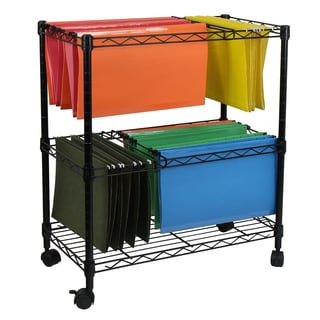 Oceanstar Black Metal Portable 2 Tier Rolling File Cart