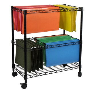 Oceanstar Black Metal Portable 2-Tier Rolling File Cart