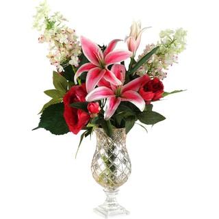 Peonies/ Lilies/ Hydrangeas in Metallic Pedestal Vase