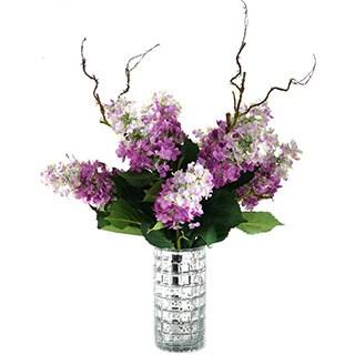 Lavender Tree Hydrangeas in Mercury Glass Cylinder