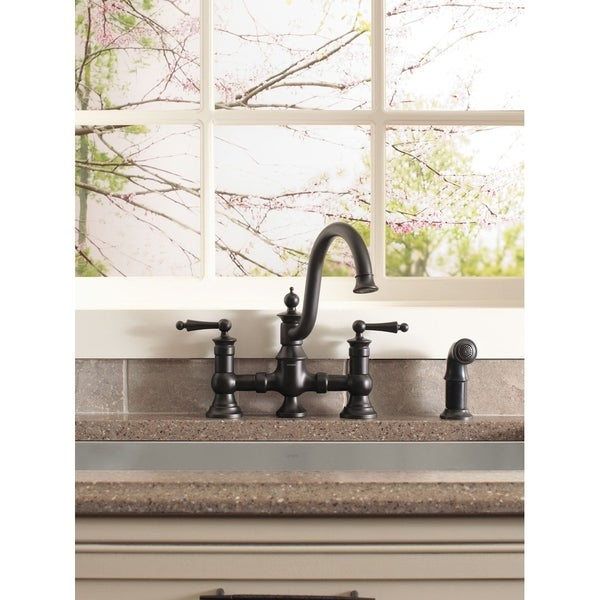 Moen Waterhill Two Handle High Arc Kitchen Faucet S713wr Wrought Iron