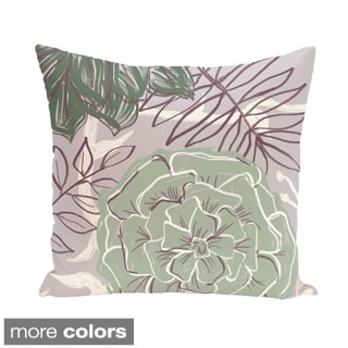Abstract Floral and Leaf Design 20-inch Decorative Pillow