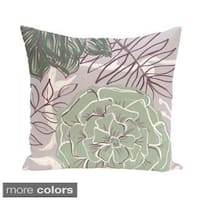 Abstract Floral and Leaf Design 18-inch Decorative Pillow