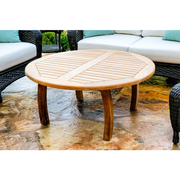 Low Round Teak Coffee Table: Shop Tortuga Outdoor Teak Round Coffee Table
