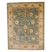 Handmade Herat Oriental Indo Vegetable Dye Oushak Wool Rug  - 9' x 11'9 (India)