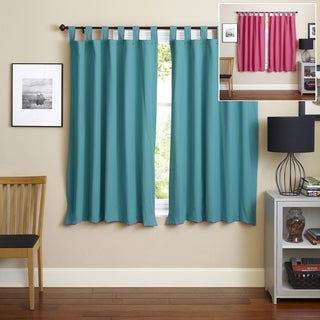 Blazing Needles 63-inch Twill Insulated Blackout Two-Tone Reversible Curtain Panel Pair - 52 x 63 (Aqua Blue/Bery Berry)