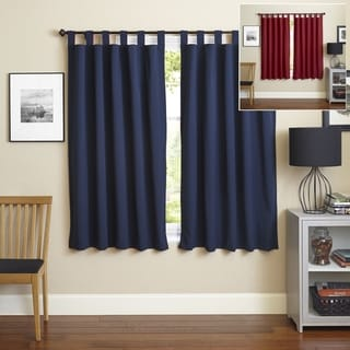 Blazing Needles 63-inch Twill Insulated Blackout Two-Tone Reversible Curtain Panel Pair - 52 x 63 (Navy/Ruby Red)