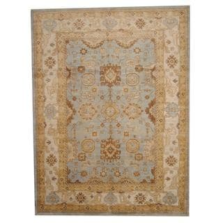 Herat Oriental Indo Hand-knotted Vegetable Dye Oushak Light Wool Rug (9' x 12')