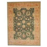 Handmade Herat Oriental Indo Vegetable Dye Oushak Wool Rug  - 9' x 11'10 (India)