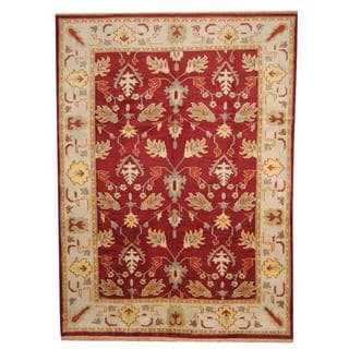 Herat Oriental Indo Hand-knotted Vegetable Dye Oushak Wool Rug (8'9 x 12')