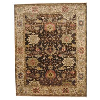 Herat Oriental Indo Hand-knotted Vegetable Dye Oushak Wool Rug (9' x 11'9)