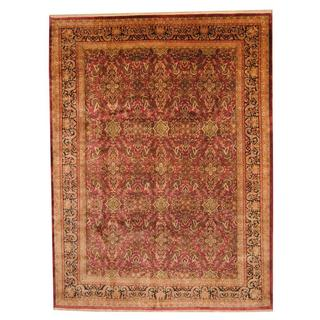 Herat Oriental Indo Hand-knotted Vegetable Dye Sarouk Wool Rug (8'9 x 11'8)