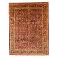 Handmade Herat Oriental Indo Vegetable Dye Sarouk Wool Rug  - 8'9 x 11'8 (India)