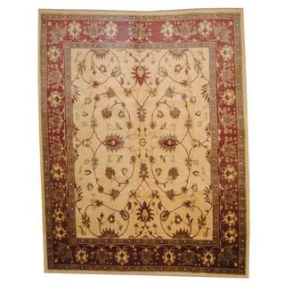 Herat Oriental Afghan Hand-knotted Vegetable Dye Oushak Wool Rug (8'8 x 10'10)
