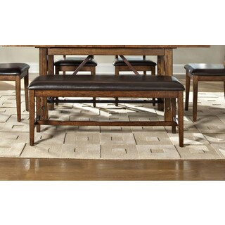 Santa Clara Brandy Bonded Leather Backless Dining Bench