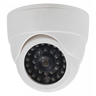 White Dummy Non-functioning Security Camera with LED Light