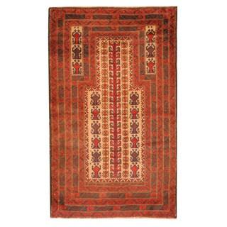 Herat Oriental Afghan Hand-knotted Tribal Balouchi Wool Rug (2'10 x 4'8)