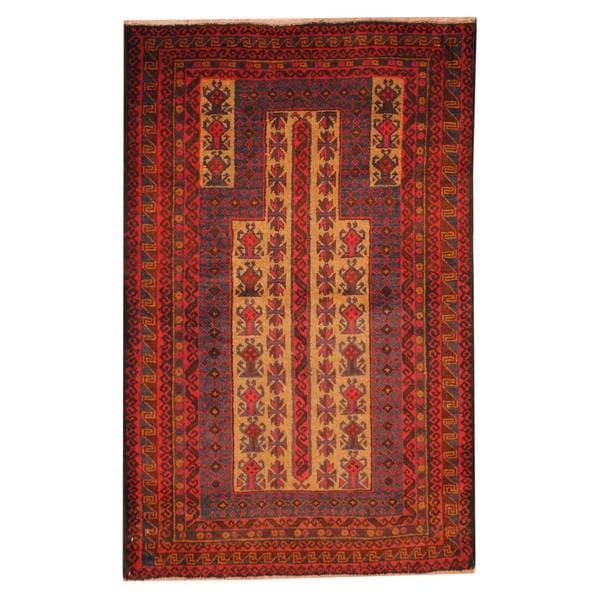 Herat Oriental Afghan Hand-knotted Tribal Balouchi Wool Rug - 2'9 x 4'4