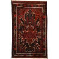 Handmade Herat Oriental Afghan Tribal Balouchi Wool Rug  - 2'9 x 4'6 (Afghanistan)