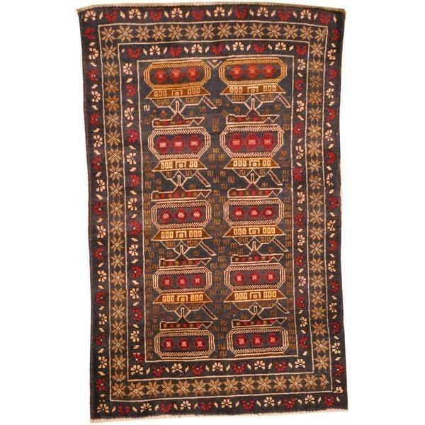 Handmade Wool War Rug (Afghanistan) - 2'8 x 4'4
