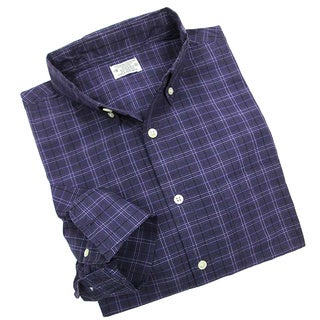 Reed Edward Men's Purple Micro Plaid Button-down Shirt