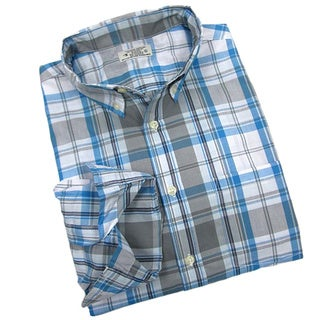 Reed Edward Men's Blue and Grey Plaid Woven Shirt