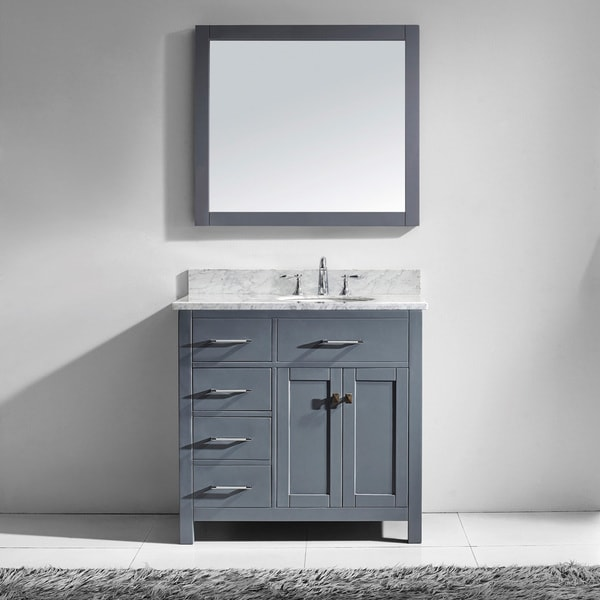Virtu USA Caroline Parkway 36 Inch Grey Single Bathroom Vanity Cabinet Set