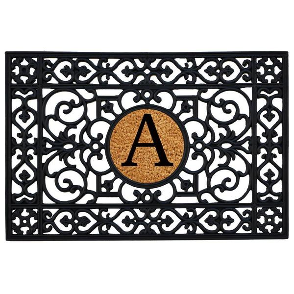 Rubber with Monogrammed Insert Doormat 2' x 3'